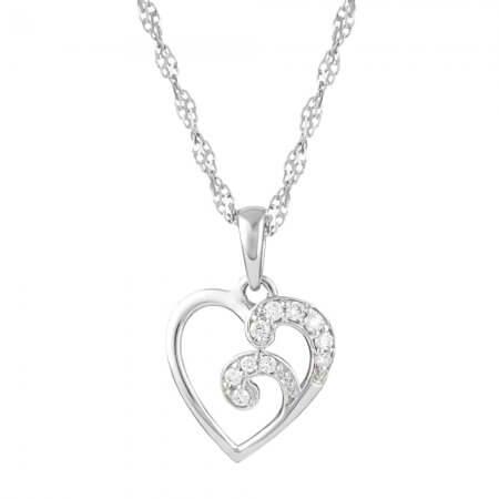 30938 - 18ct White Gold Heart Pendant