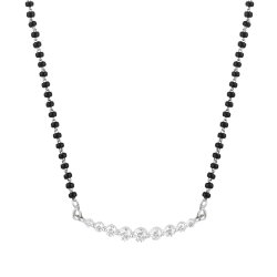 31871 - 18ct White Gold, Black Beaded Mangalsutra with Diamonds