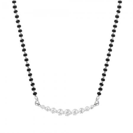 31871 - 18ct White Gold, Black Beaded Mangalsutra with Diamonds