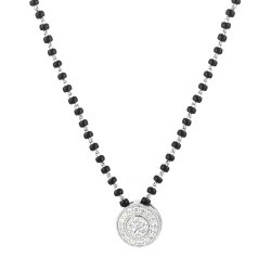 31872 - 18ct White Gold, Black Beaded Mangalsutra with Diamonds
