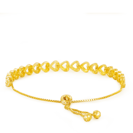 27108 - 22ct Gold Row of Hearts Bracelet