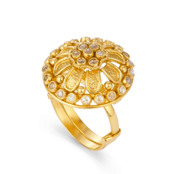 22ct Ladies Gold RingAntique Finish and Polki StonesWt: 5.9 gAdjustable ring size.All prices include VATAll our products are hallmarked by London Assay OfficeComes With Presentation BoxDelivery IncludedLive Chat with us On Whatsapp For More Images and Videos of This Product