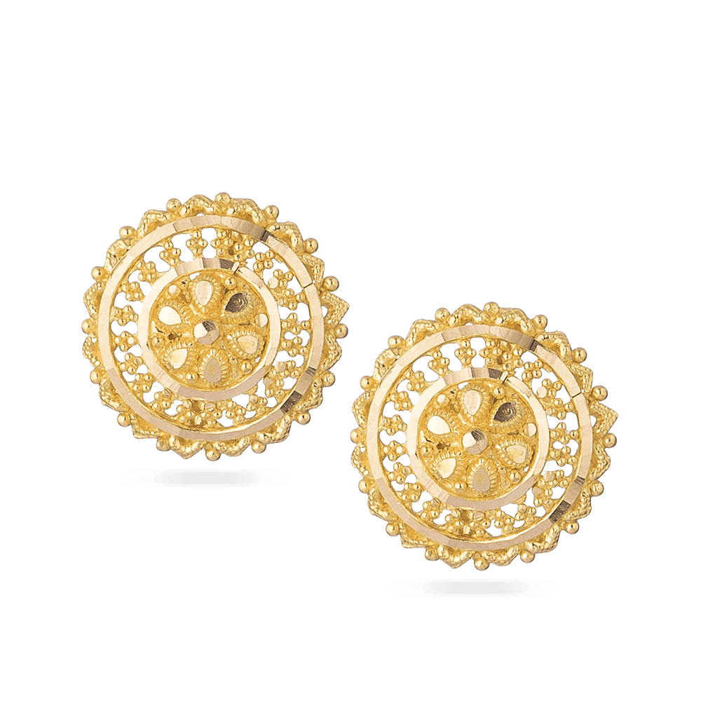 22ct Yellow Gold Stud EarringsEarring with Beautiful Filigree designWt. 5.4 gSKU. 28679All prices include VATAll our products are hallmarked by London Assay OfficeComes With Presentation BoxDelivery IncludedContact us / chat with us for live video of product