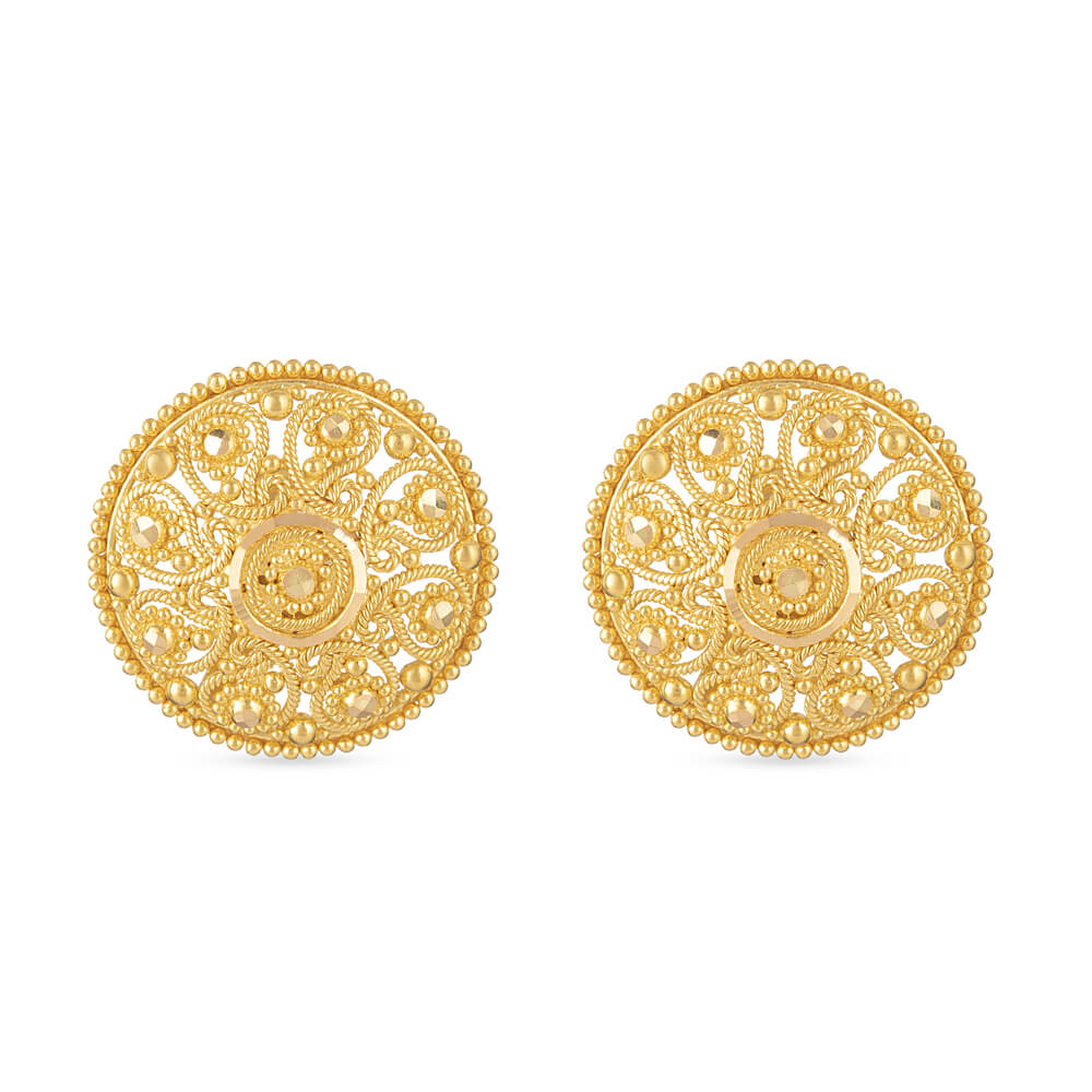 22 Carat Gold Jali Stud Earring UkIn Fine filigree hand workIn Round ShapeWt . 9.2 gDiameter 19.7mmSKU. 30775All prices include VATAll our products are hallmarked by London Assay OfficeComes With Presentation BoxDelivery IncludedContact us / chat with us to see live video of 22 carat gold earrings new design in our Green Street Store.