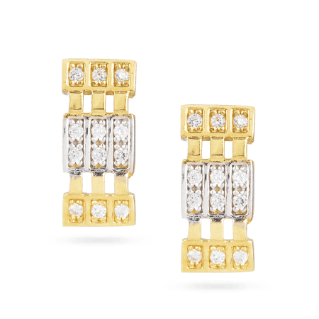 22 Carat Gold Earrings With CZ Stones