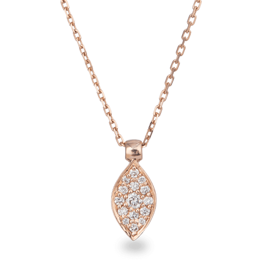 18ct Rose Gold Diamond Pendant And ChainRound Brilliant shaped Natural DiamondNo. of Diamonds. 15Diamonds wt. 0.15 caratColour. F - GClarity. VSCertificate No. SGLJL54884BSKU. 27736All prices include VATAll our Products are Hallmarked by London Assay OfficeAll Set Comes With Presentation BoxDelivery IncludedContact us / chat with us for video of the Product