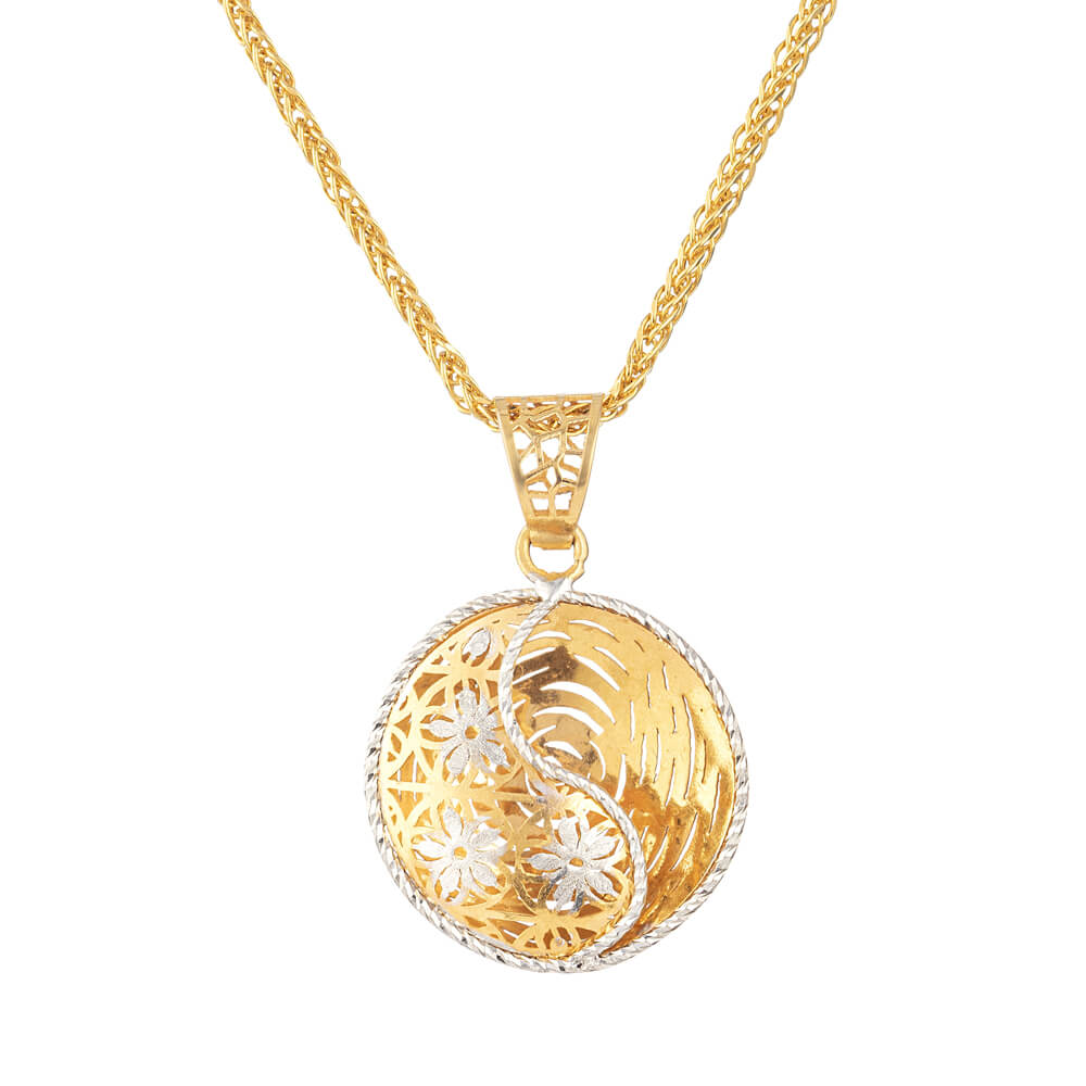 22 carat Gold pendant with Rhodium finishMatching Earring set is available on particular themeWt. 2.7 gDiameter. 21mmSKU. 30960Chain not includedAll prices include VATAll our Products are Hallmarked by London Assay OfficeAll Sets Comes With Presentation BoxFree Delivery Across UKContact us/chat with us to explore 22 carat Gold jewellery online