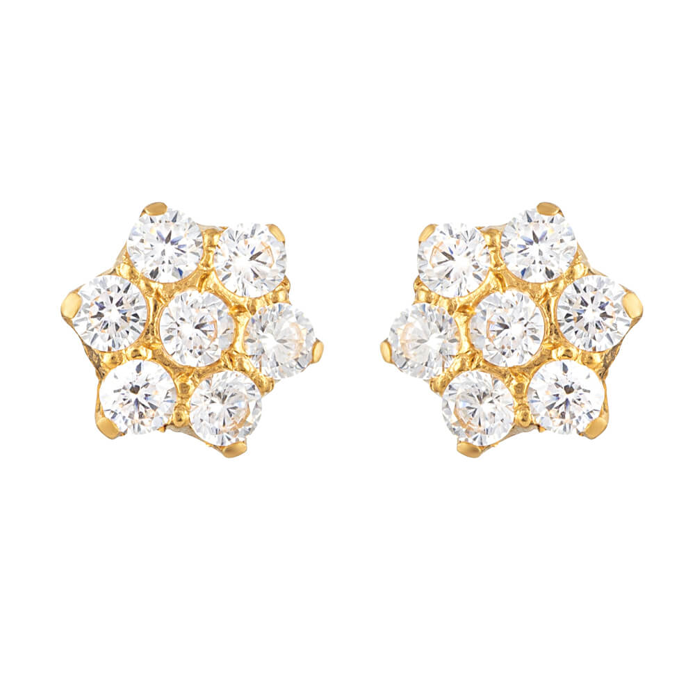 22ct Gold Ear Stud EarringsWith CZ StonesWith Screw-back FittingsWt : 1.4 gmsAll prices include VATAll our products are hallmarked by London Assay OfficeComes With Presentation BoxDelivery IncludedLive chat with us for availability and more images of similar designs currently in stock