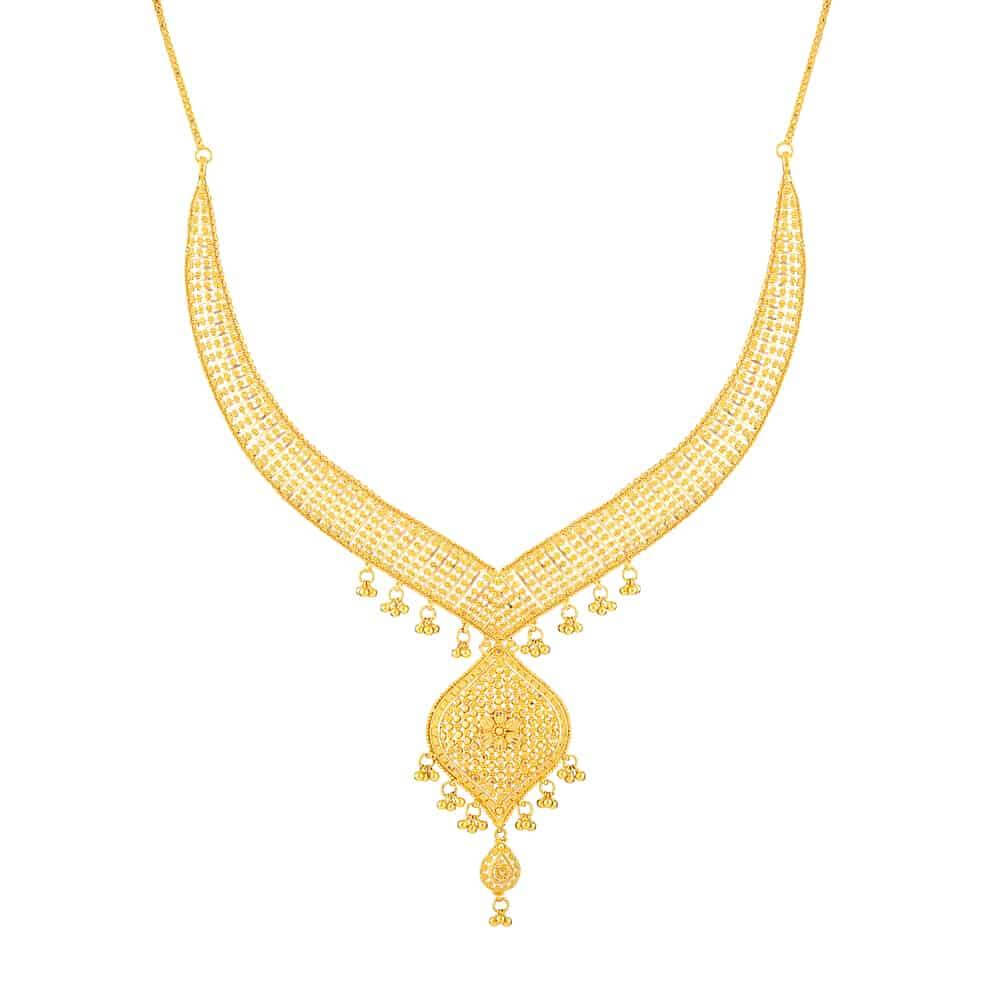 Jali 22ct Gold filigree NecklaceWt : 47 gSKU. 32377Matching Earrings are Available for this NecklaceAll prices include VATAll our Products are Hallmarked by London Assay OfficeAll Set Comes With Presentation BoxDelivery IncludedContact us / Chat with us to explore more 22ct indian jewellery