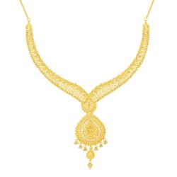 Jali 22ct Gold filigree NecklaceWt : 44.1 gSKU. 32379Matching Earrings are Available for this NecklaceAll prices include VATAll our Products are Hallmarked by London Assay OfficeAll Set Comes With Presentation BoxDelivery IncludedContact us / Chat with us to explore more 22ct indian jewellery