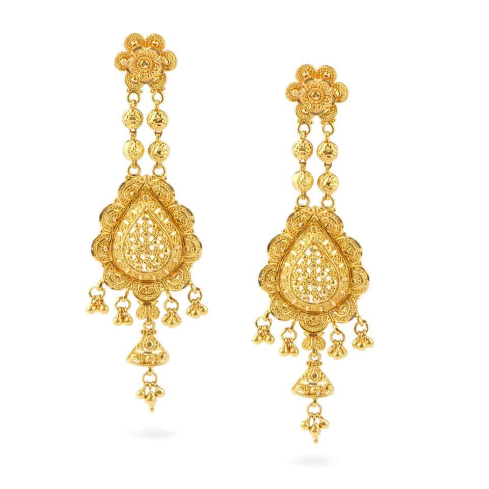 Fine filigree Design EarringWt : 22.1 gms22ct Gold Hallmarked by London Assay OfficeComes With Presentation BoxDelivery IncludedAll prices include VATLive chat with us for availability and more images of similar designs currently in stock
