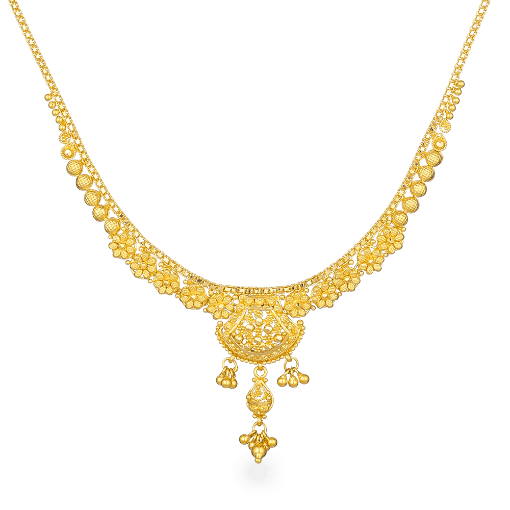 Jali 22ct Gold filigree NecklaceWt : 15.4 gSKU. 26875Matching Earrings are Available for this NecklaceAll prices include VATAll our Products are Hallmarked by London Assay OfficeAll Set Comes With Presentation BoxDelivery IncludedContact us / Chat with us to explore more 22ct indian jewellery