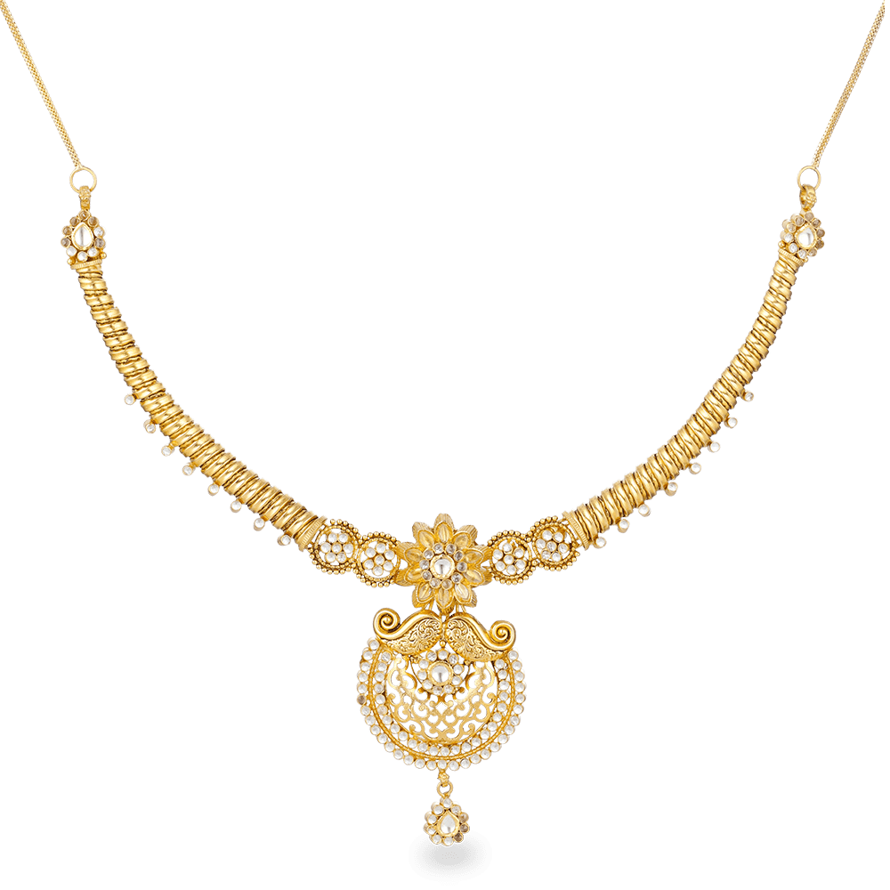 22ct Gold Bridal Necklace With Antique Finish and Polki StonesWt: 35.3 gMatching Earrings are Available for this NecklaceAll prices include VATAll our Products are Hallmarked by London Assay OfficeAll Sets Comes With Presentation BoxDelivery IncludedContact us / Live Chat with us for Video of Product