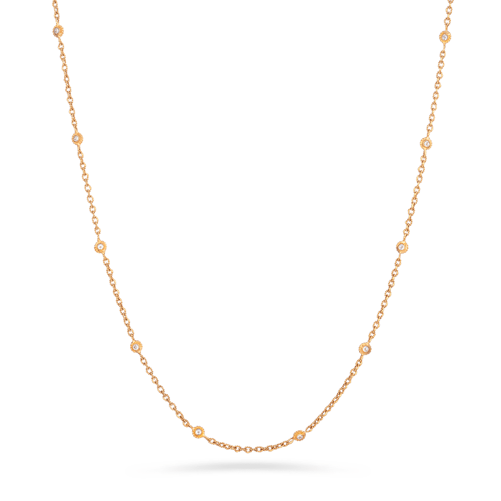 Anusha 22ct gold chain with polki stones, 22 incheswith Rose-gold finishWt. 10.8 gSKU. 27804Length. 22 inchesAll our products are Hallmarked by London Assay OfficeAll Sets Comes With Presentation BoxDelivery IncludedAll prices include VATContact us on Whatsapp to explore our collection of 22 carat gold chain uk
