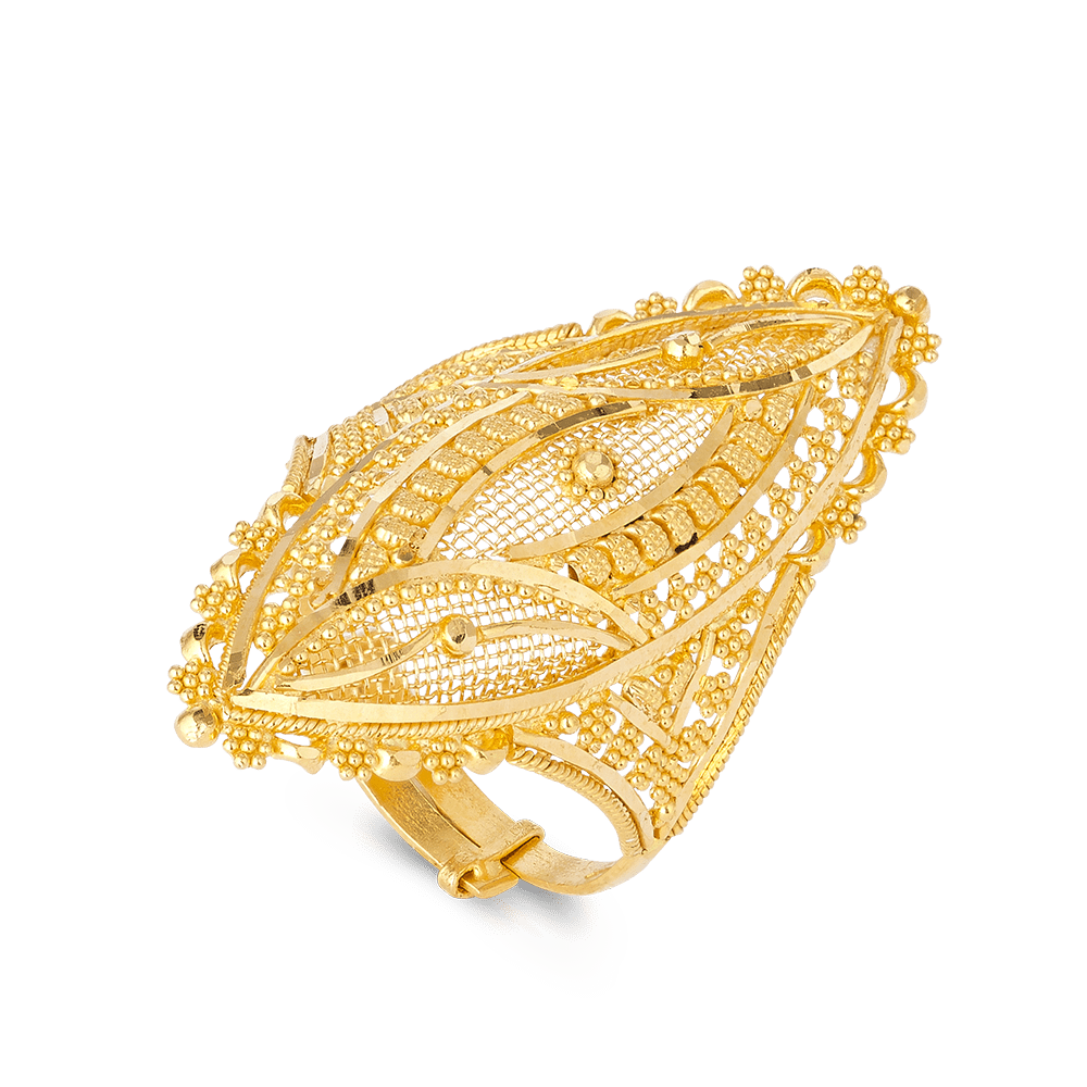 22ct Gold Ladies Ring with filigree designAdjustable in sizeRing wt. 6.6 g22ct GoldHallmarked by London Assay OfficeComes With Presentation BoxDelivery IncludedAll prices include VATLive chat with us for availability and more images of similar designs currently in stock