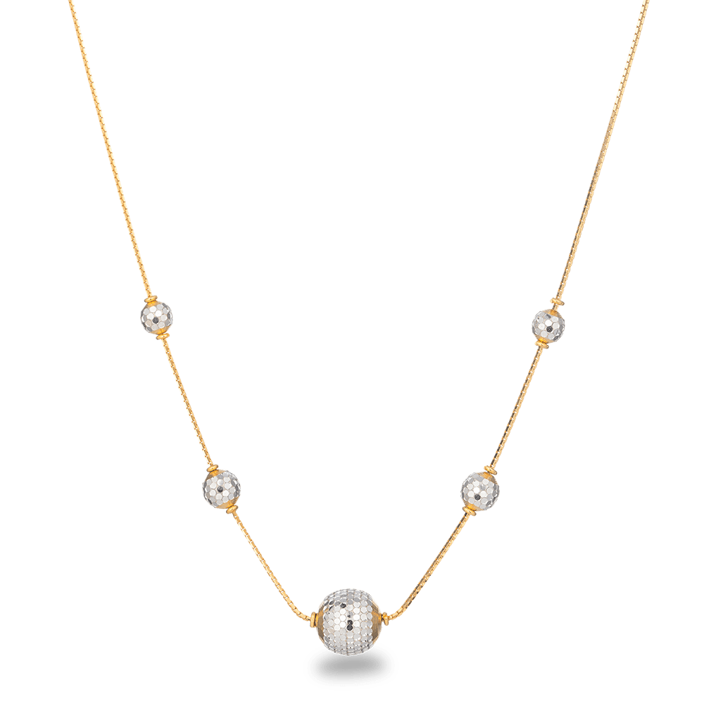 22ct Gold Necklace with Rhodium polished ballsSuitable for Daily wearWt : 9.6 gSKU. 27995All prices include VATAll our products are hallmarked by London Assay OfficeComes With Presentation BoxDelivery IncludedContact us/live chat with us for video of product