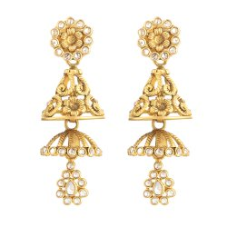 22 Carat Gold Earrings UKAnusha Earring with Antique Finish and Polki stonesWt 11.7 gSKU. 31102All our products are hallmarked by London Assay OfficeComes With Presentation BoxDelivery IncludedAll prices include VATLive Chat with us to view the entire new range of gold drop earrings uk available in our store at forest gate, London.