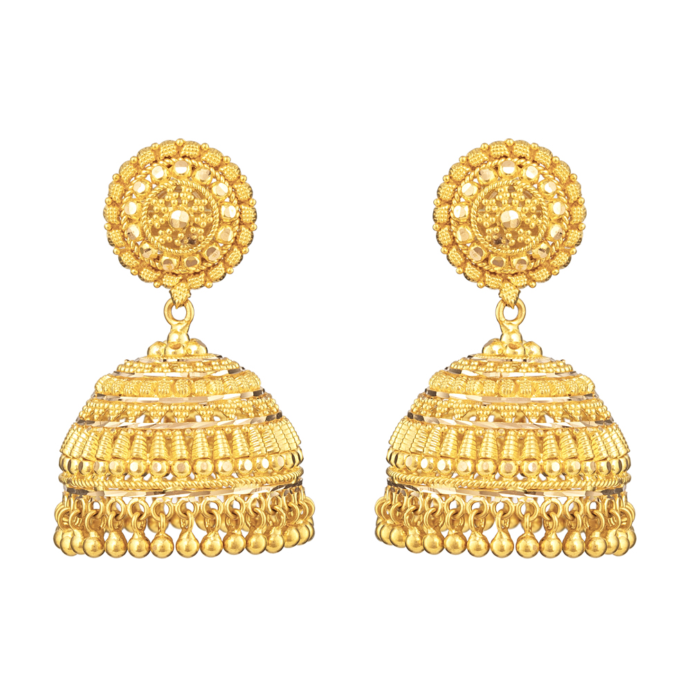 22ct Indian Gold JhumkhaWt: 19.1Sku 31159All prices include VATAll our products are hallmarked by London Assay OfficeAll set comes with presentation BoxDelivery IncludedLive chat with us for availability and more images of similar designs currently in stock