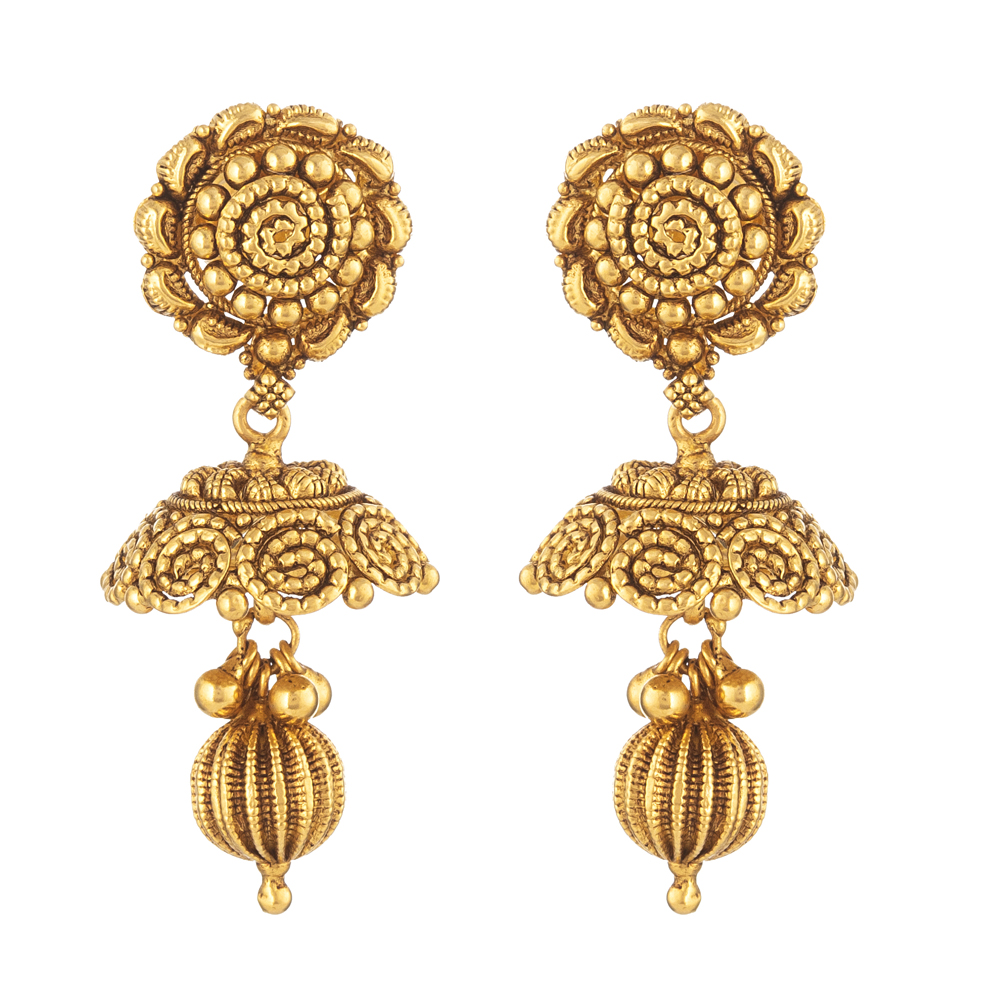 22ct Gold Indian Bridal EarringMade in 22ct Yellow Gold With Antique FinishWt: 10.3 gSku 31236All prices include VATAll our products are hallmarked by London Assay OfficeAll set comes with presentation BoxDelivery IncludedLive chat with us for availability and more images of similar designs currently in stock