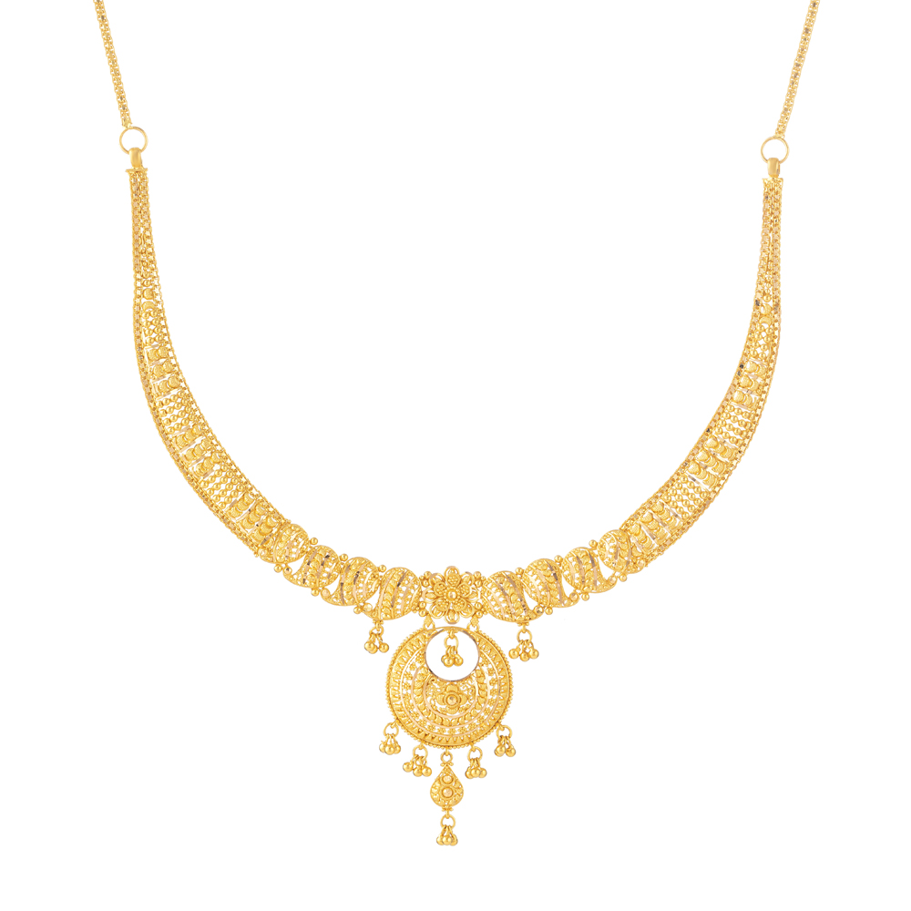 22ct Gold Indian NecklaceStiff U Choker with a Drop PendantWt: 30.1 gSku 31240All prices include VATAll our products are hallmarked by London Assay OfficeAll set comes with presentation BoxDelivery IncludedLive chat with us for availability and more images of similar designs currently in stock