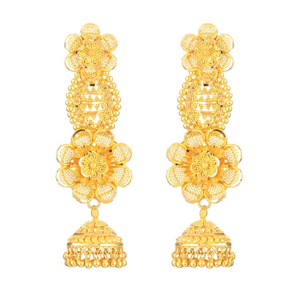 22ct Gold Indian Bridal EarringMade in 22ct Yellow GoldWt: 22.1 gSku 26753All prices include VATAll our products are hallmarked by London Assay OfficeAll set comes with presentation BoxDelivery IncludedLive chat with us for availability and more images of similar designs currently in stock