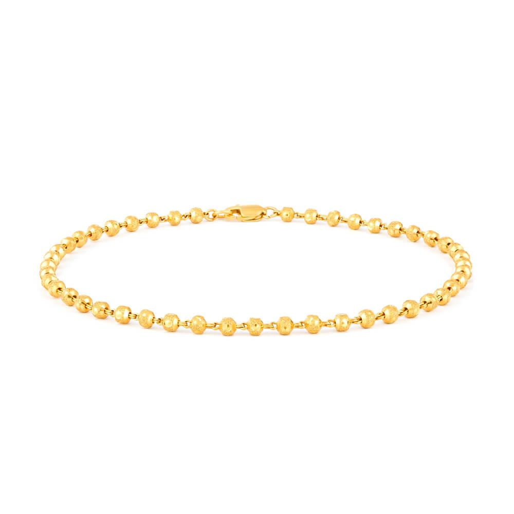 22ct Gold Anklet Gold Bead YGAK003