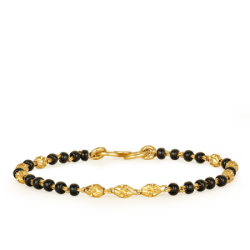 22ct Gold Light Black Beads Baby Bracelet YGBT020