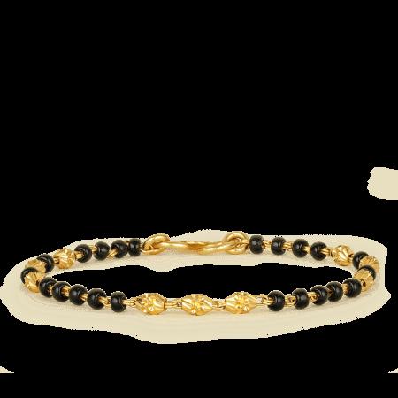 22ct Gold Light Black Beads Baby Bracelet YGBT020