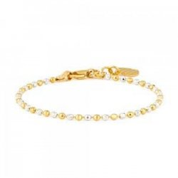 22ct Gold Baby Bracelet Yellow and Rhodium Beads YGBT051