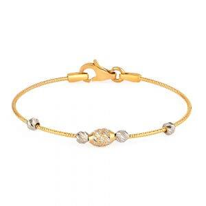 22ct Gold Baby Bangle Wired Ball YGBB045