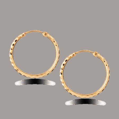 22ct Gold Light Diamond Cut Hollow Bali Earring TLER007