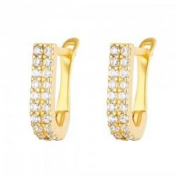 22ct Gold Light White CZ Stone Bali Earring YGER269