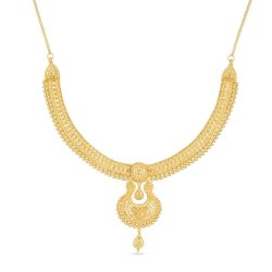 22 Ct Gold Jali Choker Necklace with a Drop Pendant