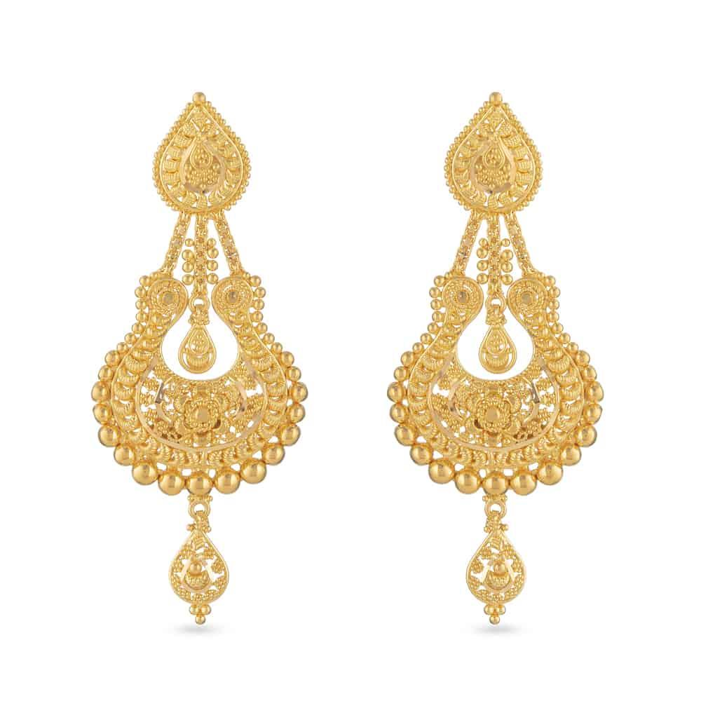 22ct Gold Filigree Bridal EarringIn Fine handcrafted filigree workWt : 16 gSKU. 30804All prices include VATAll our products are hallmarked by London Assay OfficeAll Sets comes with presentation BoxDelivery IncludedChat with us to see the live images of all 22ct gold Jhumkas in our London Store.