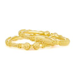 Pair (two Kadas) of 22ct Gold Bridal or Party wear Kadas –(If you want one Kada  please enquire on chat – the price shown here is for two kadas)Kada 1  Wt  . 27  gmsKada 2  Wt  . 26.2  gmsTotal Wt . 53.2 gmsSize : 2.6 inch inside diameter. Please enquire for additional sizesSku 32322,32323These are bauble  KadasAll our 22 carat Gold Jewellery are hallmarked by London Assay OfficeComes With Presentation BoxDelivery IncludedAll prices include VATContact us / chat with us for live video of 22 Carat Indian Gold Jewellery