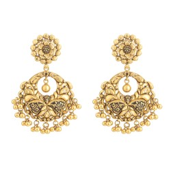 22 Carat Gold Earring With Antique Finish
