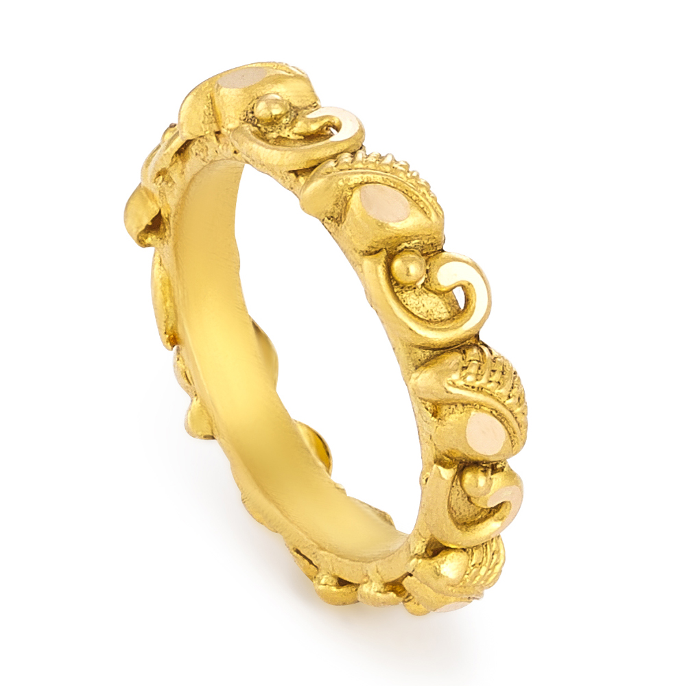 22 Carat Gold Ring With Antique FinishWt.4.4 gsize. HSKU. 31175All prices include VAT22ct GoldHallmarked by London Assay OfficeComes With Presentation BoxDelivery IncludedLive chat with us for availability and more images of similar designs currently in stock