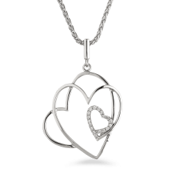 Keep the romance alive – this 18ct white gold pendant is a beautiful momento of your time together. The design features a trio of interlocking hearts, the third being delicately sprinkled with diamonds.  It's a fine romantic gesture, but we think particularly special for those who've had their first baby together – in the tradition of giving jewels for every birth. Crafted in 18ct white gold, it's a light and versatile diamond pendant that she'll love to wear everywhere.18ct White GoldTriple Heart shapes pendantChain not included.1.37 grmsAll prices include VAT Gold Hallmarked by London Assay OfficeAll Set Comes With Presentation BoxDelivery IncludedLive chat with us for availability and more images of similar designs currently in stock