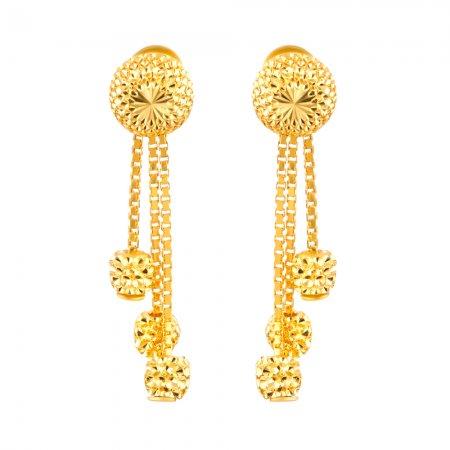 22ct Gold Diamond Cut Earring Flat YGER278
