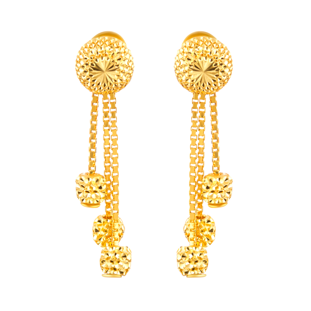 22ct Gold Diamond Cut Earring Flat YGER278