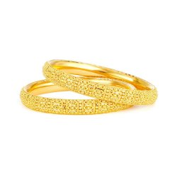 Pair (two bangles) of 22ct Gold Bridal or Party wear Bangles –(If you want one bangle please enquire on chat – the price shown here is for two bangles)Kada 1  Wt . 24.8 gmsKada 2  Wt . 24.5 gmsTotal Wt . 49.3 gmsSize : 2.10 inch inside diameter. Please enquire for additional sizesSku 32340,32341All our 22 carat gold jewellery  are hallmarked by London Assay OfficeComes With Presentation BoxDelivery IncludedAll prices include VATContact us / chat with us for live video of our 22 carat Gold Jewellery online UK