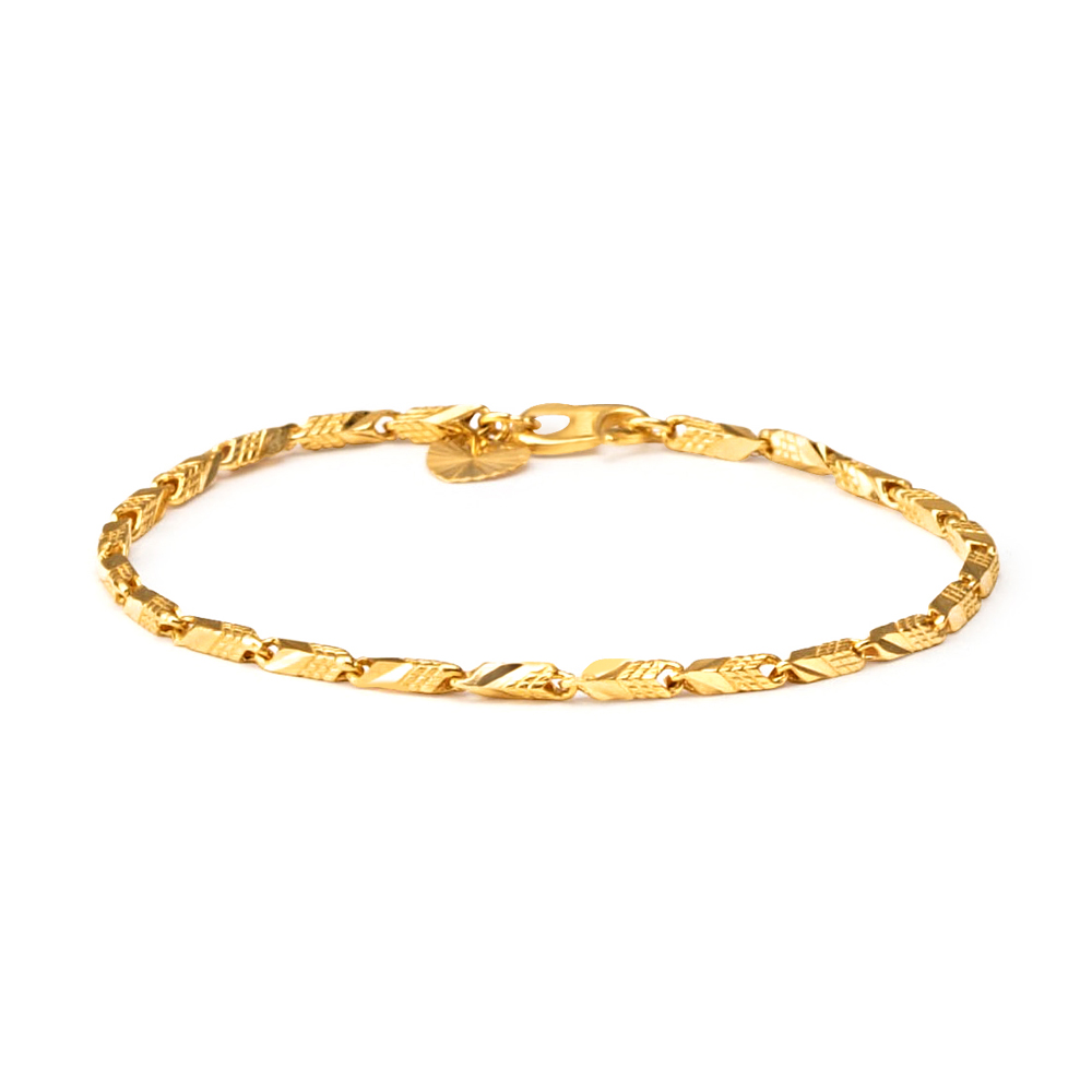 22ct Gold Light Flat Patta Ladies Bracelet YGBR084