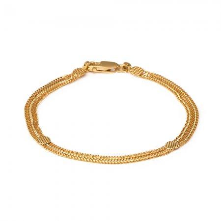 22ct Gold Light Flat Patta Ladies Bracelet YGBR124