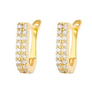 22ct Gold Light White CZ Stone Bali Earring YGER269
