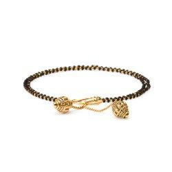 22ct Gold Medium Double line Black Beads Ladies Bracelet YGBR077