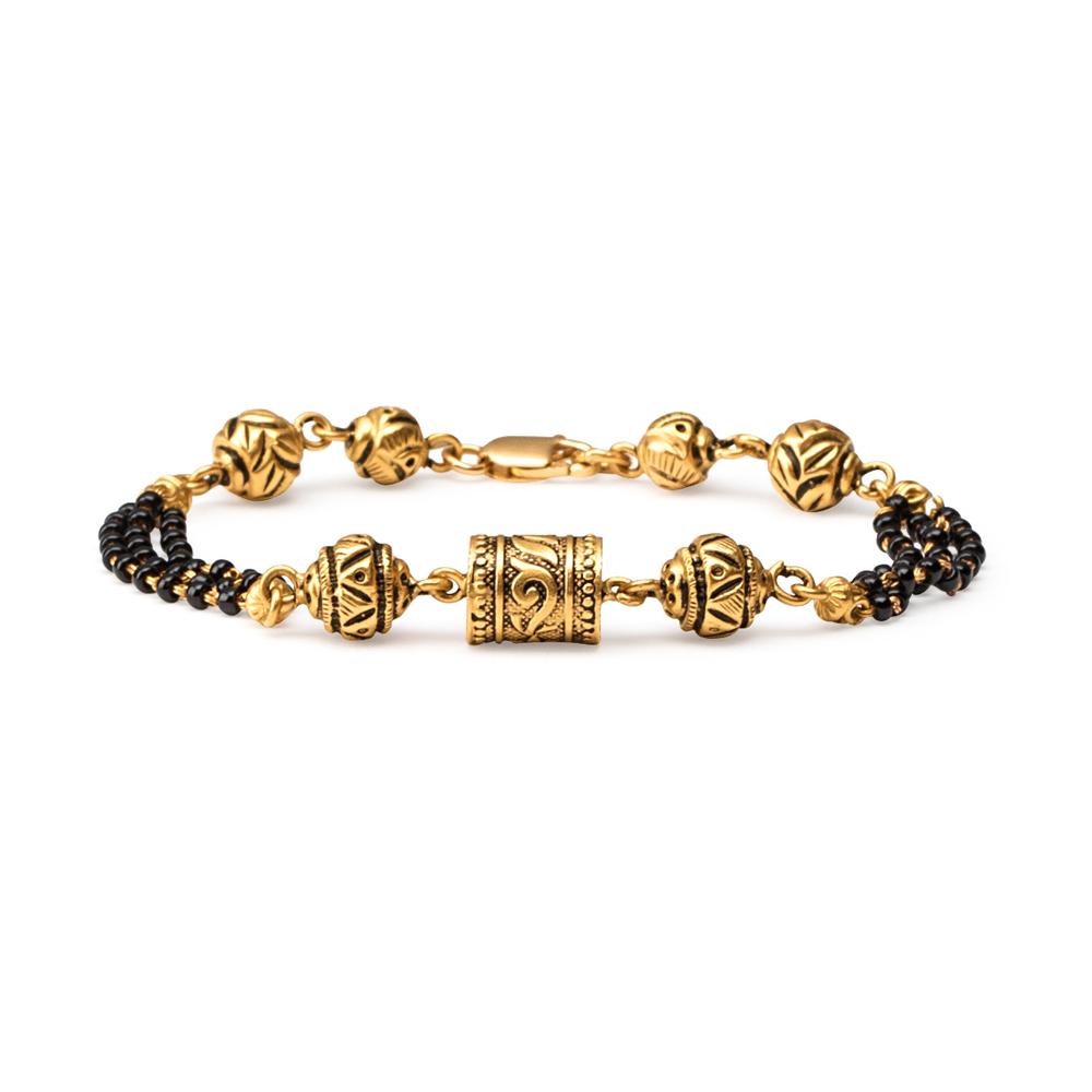 22ct Gold Medium Black Beads Ladies Bracelet YGBR079