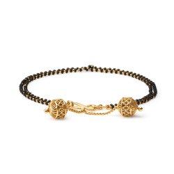 22ct Gold Medium Double line Black Beads Ladies Bracelet YGBR075