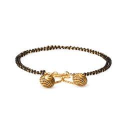22ct Gold Medium Double line Black Beads Ladies Bracelet YGBR076