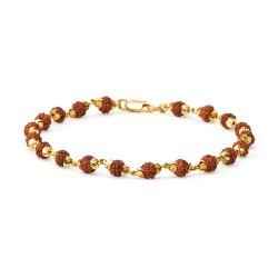 22ct Gold Light Rudraksh Gents Bracelet YGGB042