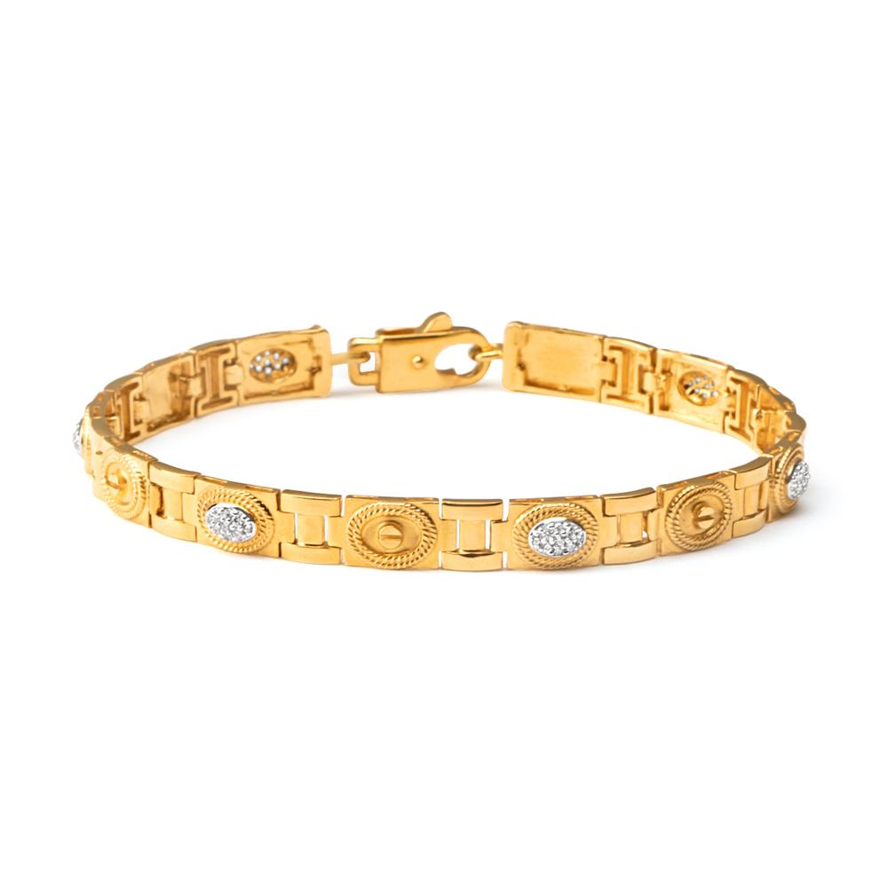22ct Gold Medium Flat Patta Gents Bracelet YGGB026